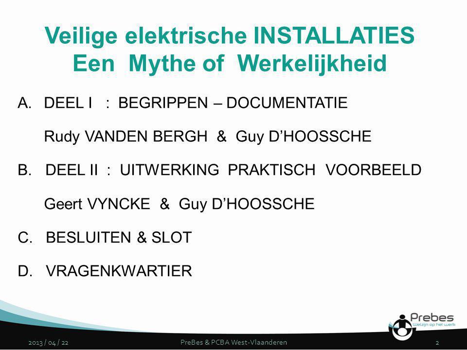 Veilige elektrische INSTALLATIES Een Mythe of Werkelijkheid A.DEEL I : BEGRIPPEN – DOCUMENTATIE Rudy VANDEN BERGH & Guy D'HOOSSCHE B. DEEL II : UITWER