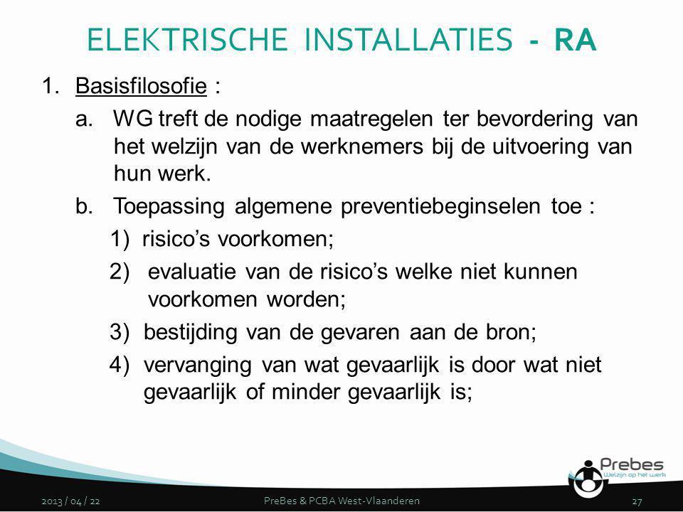 1.Basisfilosofie : a. WG treft de nodige maatregelen ter bevordering van het welzijn van de werknemers bij de uitvoering van hun werk. b. Toepassing a