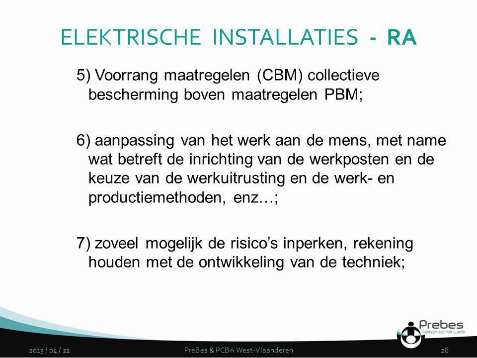 5) Voorrang maatregelen (CBM) collectieve bescherming boven maatregelen PBM; 6) aanpassing van het werk aan de mens, met name wat betreft de inrichtin