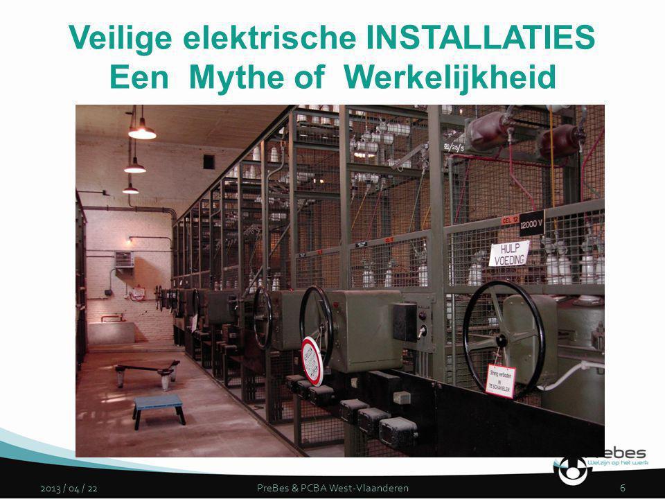 2013 / 04 / 22PreBes & PCBA West-Vlaanderen6 Veilige elektrische INSTALLATIES Een Mythe of Werkelijkheid