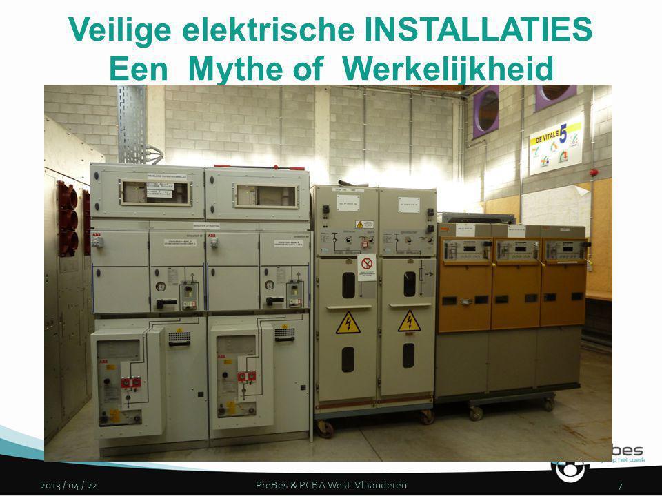 2013 / 04 / 22PreBes & PCBA West-Vlaanderen7 Veilige elektrische INSTALLATIES Een Mythe of Werkelijkheid