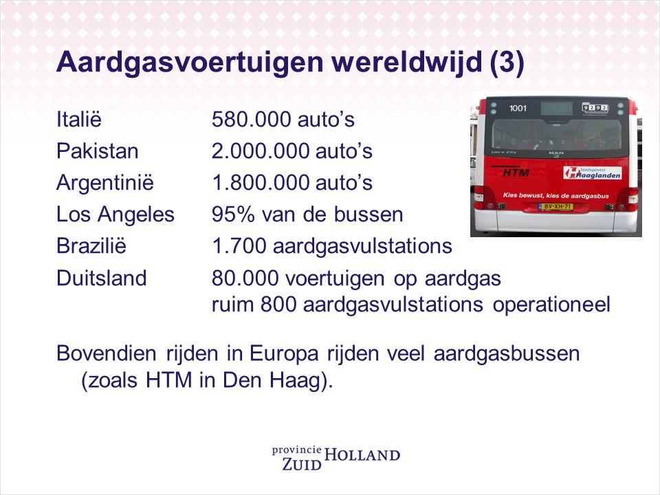 Aardgasvoertuigen wereldwijd (3) Italië 580.000 auto's Pakistan2.000.000 auto's Argentinië1.800.000 auto's Los Angeles95% van de bussen Brazilië1.700