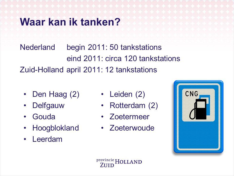 Waar kan ik tanken? Nederlandbegin 2011: 50 tankstations eind 2011: circa 120 tankstations Zuid-Holland april 2011: 12 tankstations •Den Haag (2) •Del