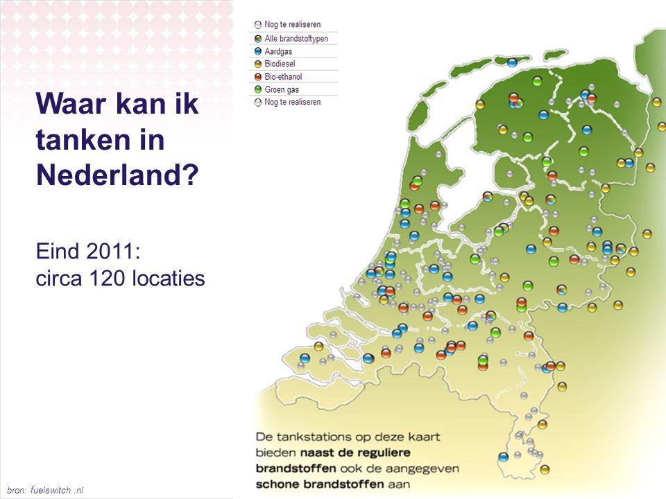 Waar kan ik tanken in Nederland? Eind 2011: circa 120 locaties bron: fuelswitch.nl