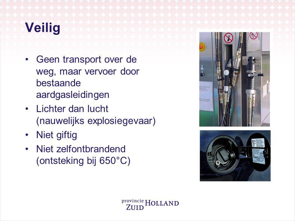 Veilig •Geen transport over de weg, maar vervoer door bestaande aardgasleidingen •Lichter dan lucht (nauwelijks explosiegevaar) •Niet giftig •Niet zel