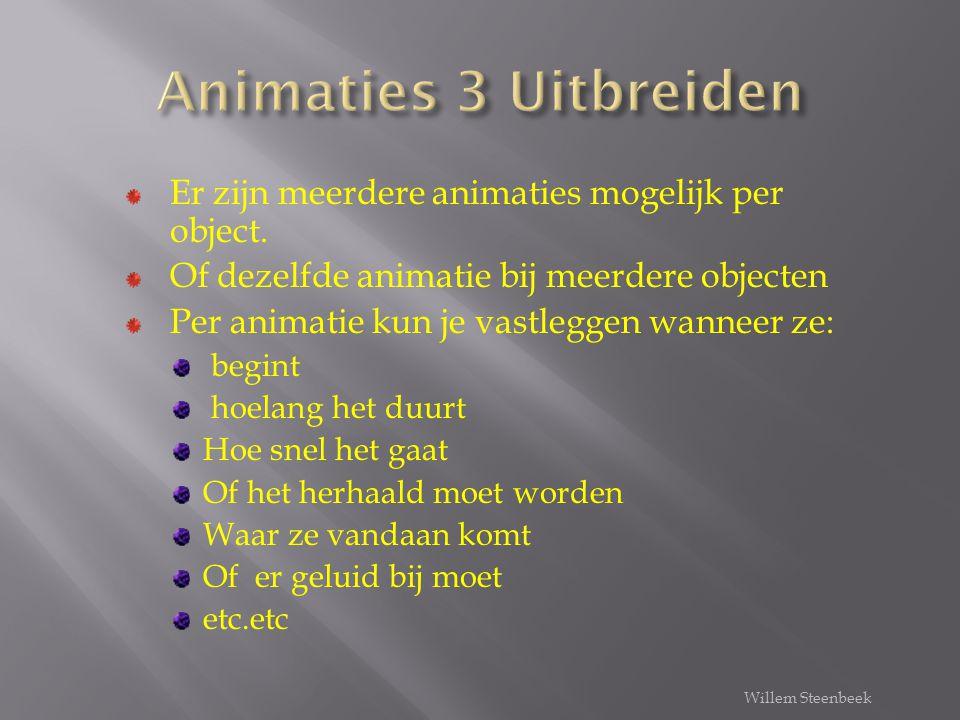Selecteer object Tabblad animaties Aangepaste animatie (venster opent) Effect toevoegen Effect aanpassen/wijzigen Wanneer start de animatie Hoe start