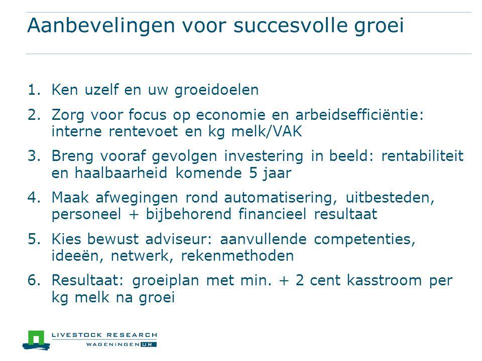 Aanbevelingen voor succesvolle groei 1.Ken uzelf en uw groeidoelen 2.Zorg voor focus op economie en arbeidsefficiëntie: interne rentevoet en kg melk/V