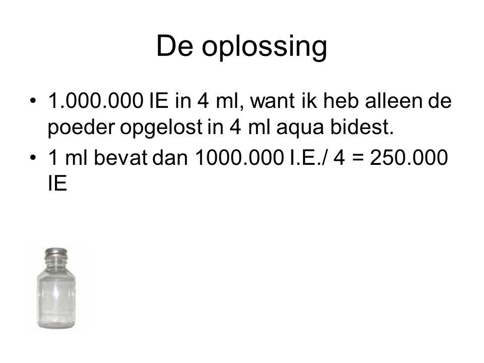 De oplossing •1.000.000 IE in 4 ml, want ik heb alleen de poeder opgelost in 4 ml aqua bidest. •1 ml bevat dan 1000.000 I.E./ 4 = 250.000 IE