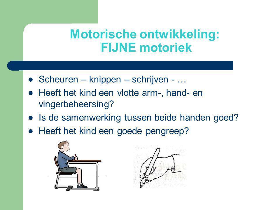 Motorische ontwikkeling: FIJNE motoriek  Scheuren – knippen – schrijven - …  Heeft het kind een vlotte arm-, hand- en vingerbeheersing?  Is de same