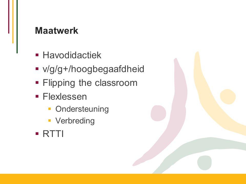Maatwerk  Havodidactiek  v/g/g+/hoogbegaafdheid  Flipping the classroom  Flexlessen  Ondersteuning  Verbreding  RTTI