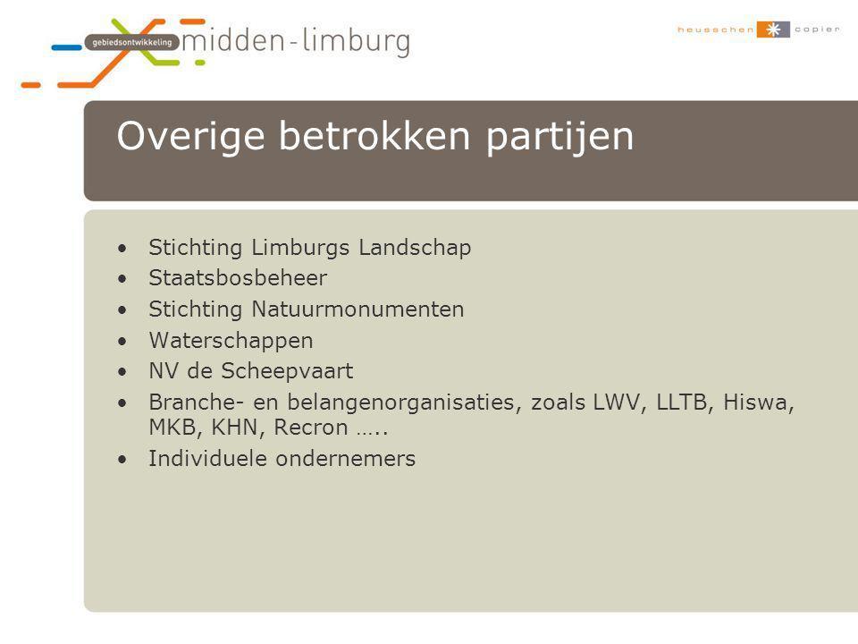 Overige betrokken partijen •Stichting Limburgs Landschap •Staatsbosbeheer •Stichting Natuurmonumenten •Waterschappen •NV de Scheepvaart •Branche- en b