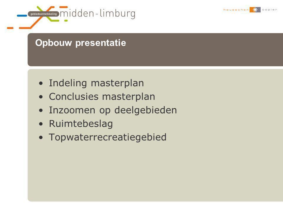•Indeling masterplan •Conclusies masterplan •Inzoomen op deelgebieden •Ruimtebeslag •Topwaterrecreatiegebied Opbouw presentatie