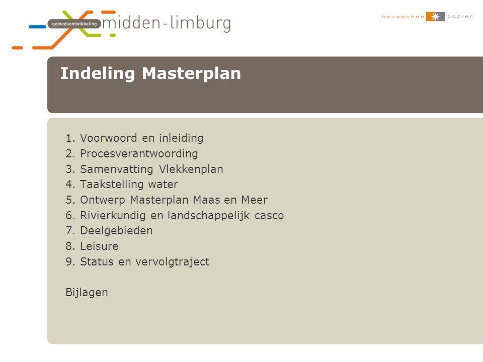 Indeling Masterplan 1. Voorwoord en inleiding 2. Procesverantwoording 3. Samenvatting Vlekkenplan 4. Taakstelling water 5. Ontwerp Masterplan Maas en
