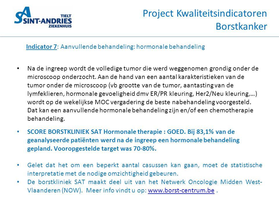 Project Kwaliteitsindicatoren Borstkanker Indicator 7: Aanvullende behandeling: hormonale behandeling • Na de ingreep wordt de volledige tumor die wer
