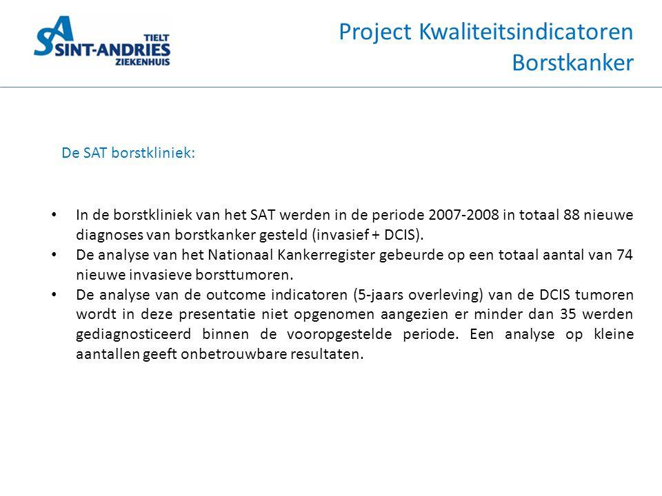 Project Kwaliteitsindicatoren Borstkanker De SAT borstkliniek: • In de borstkliniek van het SAT werden in de periode 2007-2008 in totaal 88 nieuwe dia