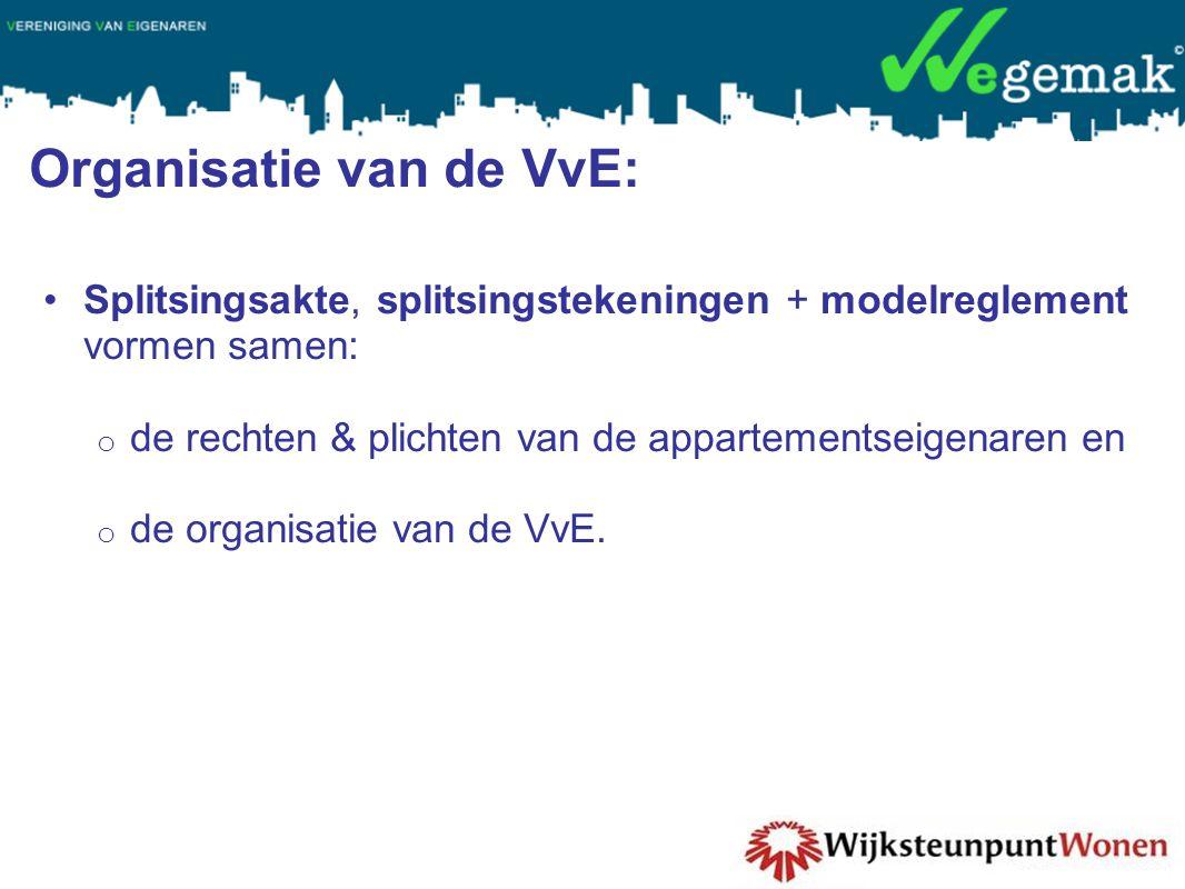 Organisatie van de VvE: •Splitsingsakte, splitsingstekeningen + modelreglement vormen samen: o de rechten & plichten van de appartementseigenaren en o