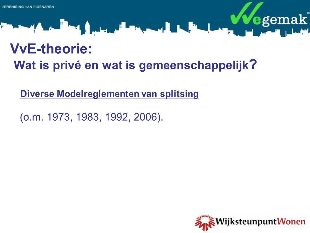 VvE-theorie: Wat is privé en wat is gemeenschappelijk ? Diverse Modelreglementen van splitsing (o.m. 1973, 1983, 1992, 2006).
