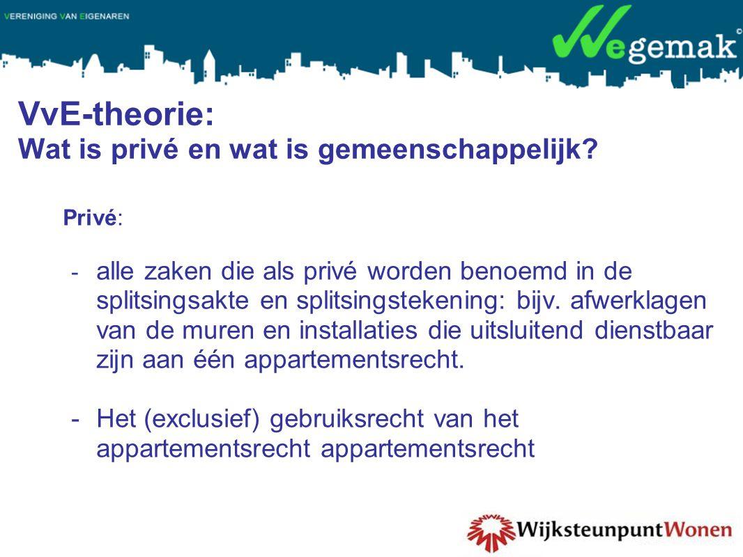 VvE-theorie: Wat is privé en wat is gemeenschappelijk.