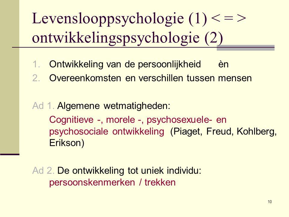 10 Levenslooppsychologie (1) ontwikkelingspsychologie (2) 1.Ontwikkeling van de persoonlijkheid èn 2.Overeenkomsten en verschillen tussen mensen Ad 1.