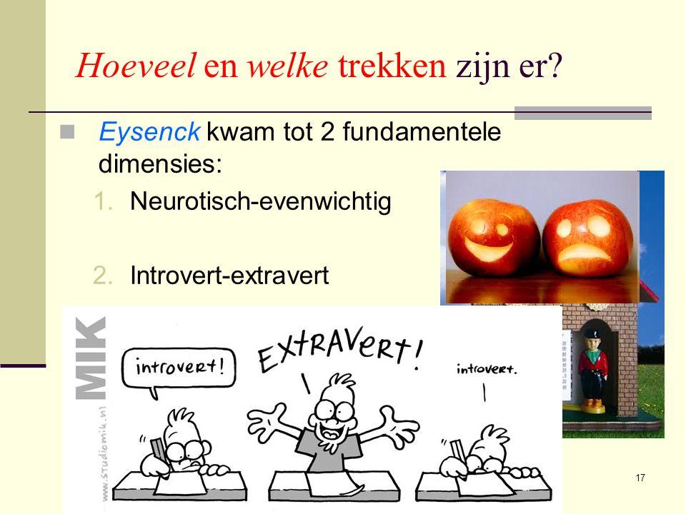 17 Hoeveel en welke trekken zijn er?  Eysenck kwam tot 2 fundamentele dimensies: 1.Neurotisch-evenwichtig 2.Introvert-extravert