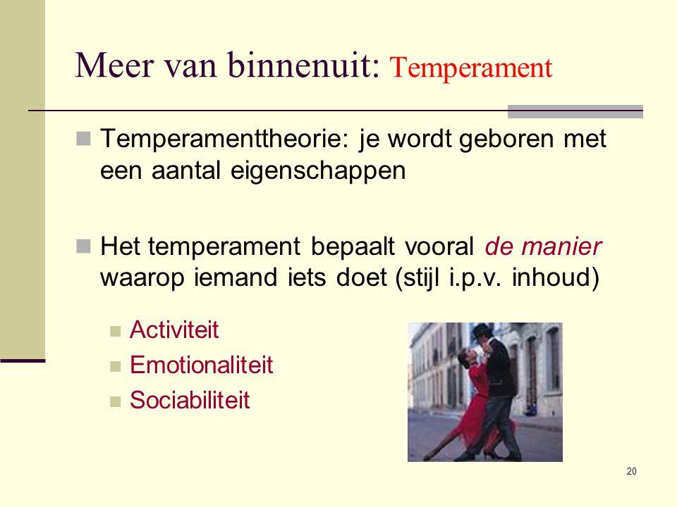 20 Meer van binnenuit: Temperament  Temperamenttheorie: je wordt geboren met een aantal eigenschappen  Het temperament bepaalt vooral de manier waar