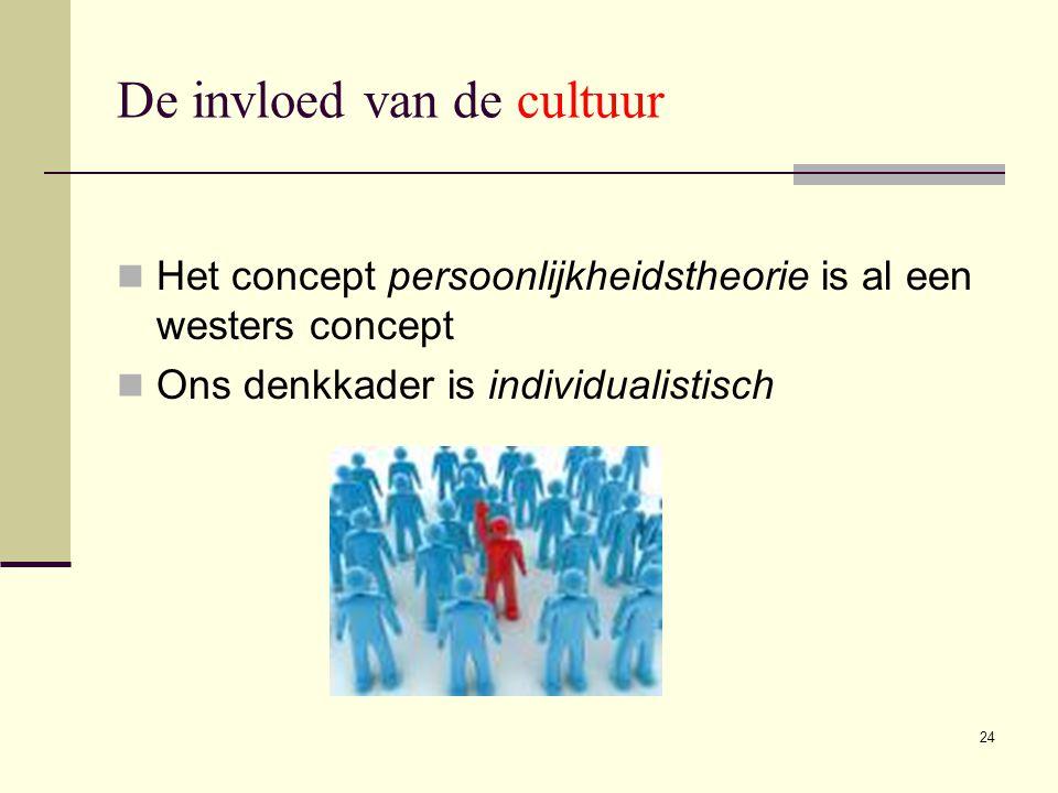24 De invloed van de cultuur  Het concept persoonlijkheidstheorie is al een westers concept  Ons denkkader is individualistisch