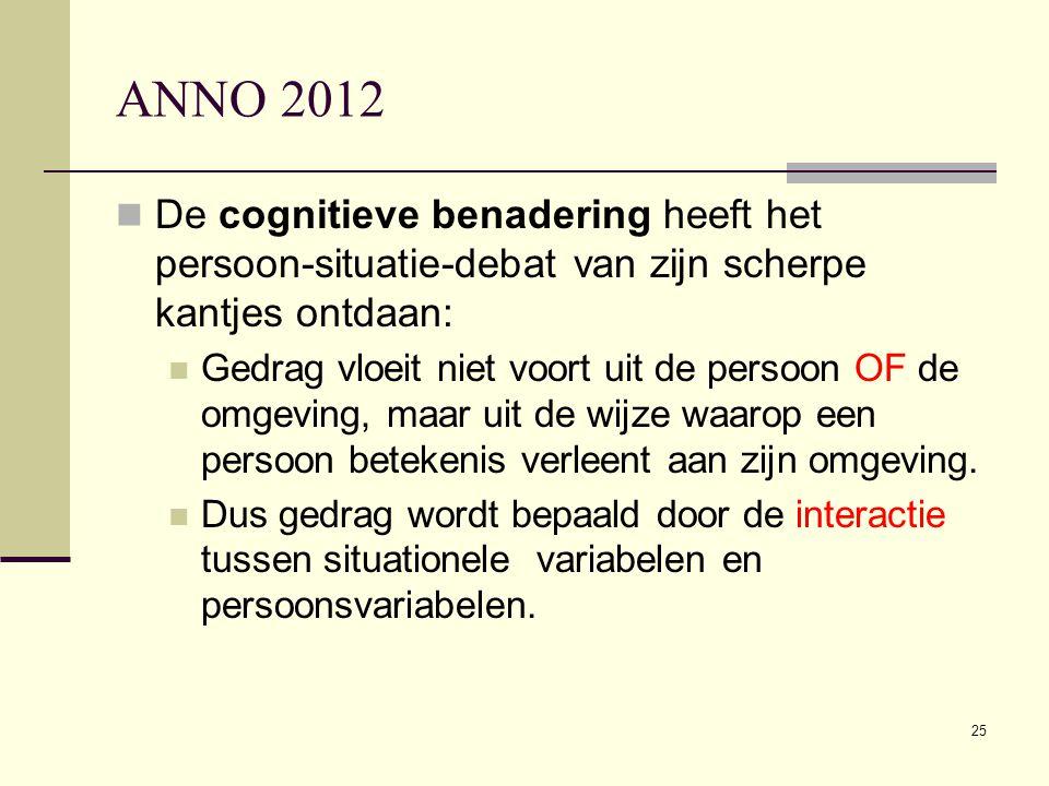 25 ANNO 2012  De cognitieve benadering heeft het persoon-situatie-debat van zijn scherpe kantjes ontdaan:  Gedrag vloeit niet voort uit de persoon O