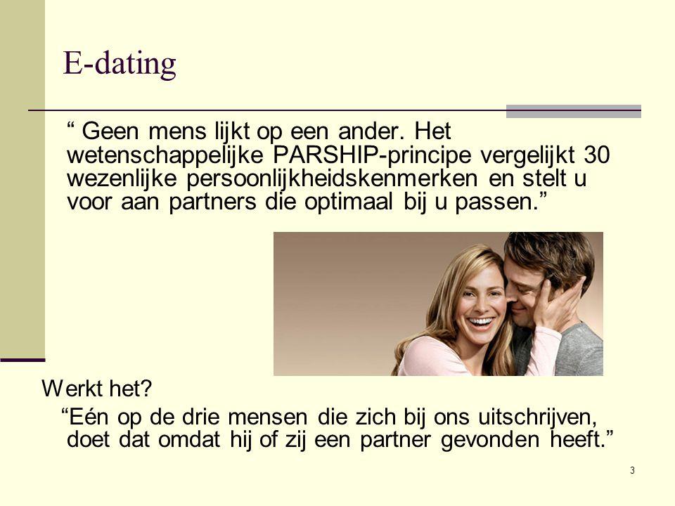 """3 E-dating """" Geen mens lijkt op een ander. Het wetenschappelijke PARSHIP-principe vergelijkt 30 wezenlijke persoonlijkheidskenmerken en stelt u voor a"""