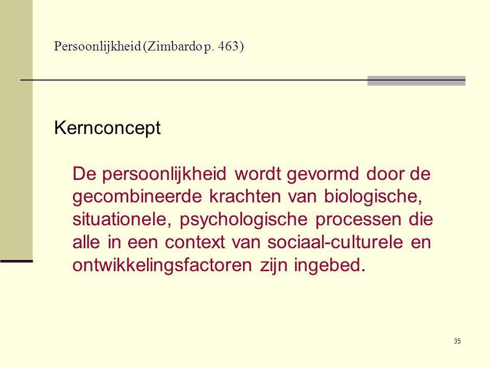 35 Persoonlijkheid (Zimbardo p. 463) Kernconcept De persoonlijkheid wordt gevormd door de gecombineerde krachten van biologische, situationele, psycho