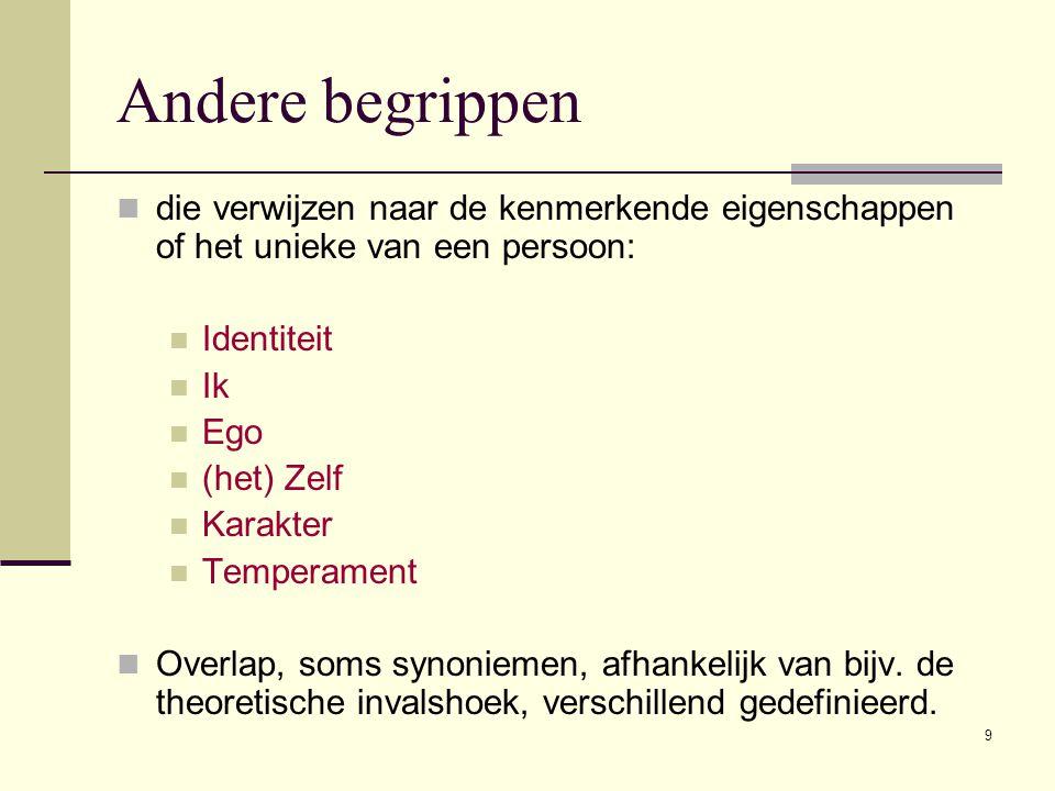 9  die verwijzen naar de kenmerkende eigenschappen of het unieke van een persoon:  Identiteit  Ik  Ego  (het) Zelf  Karakter  Temperament  Ove