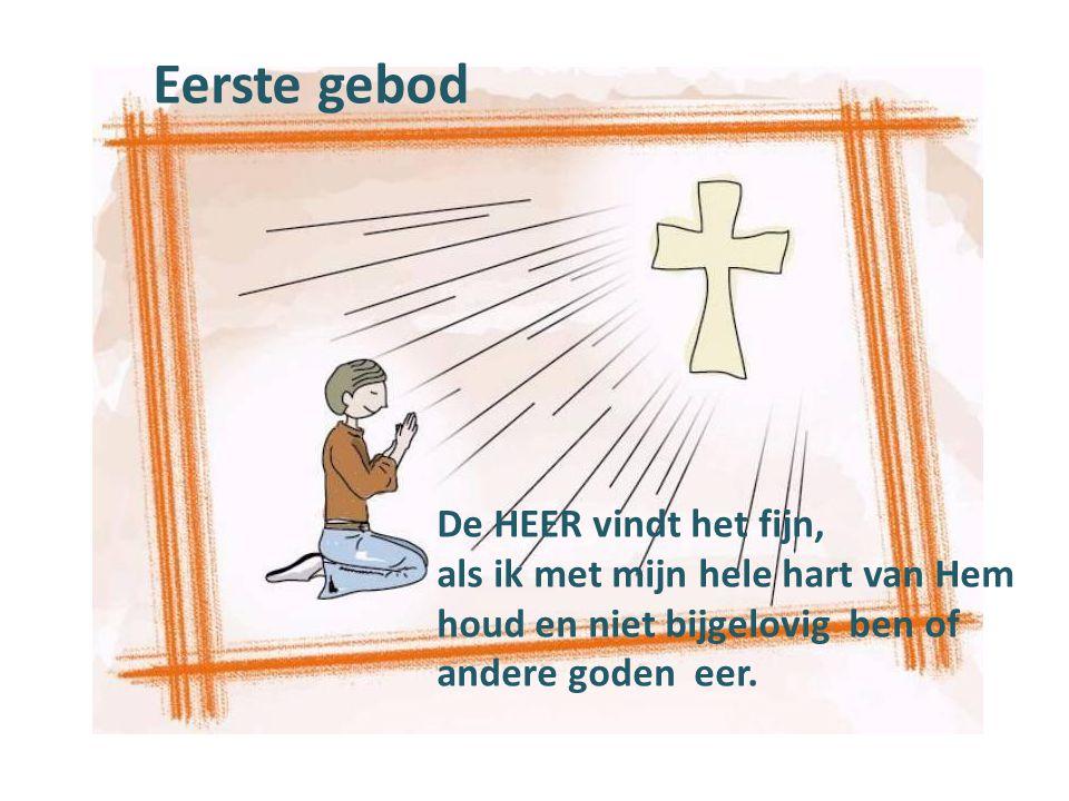 Eerste gebod De HEER vindt het fijn, als ik met mijn hele hart van Hem houd en niet bijgelovig ben of andere goden eer.