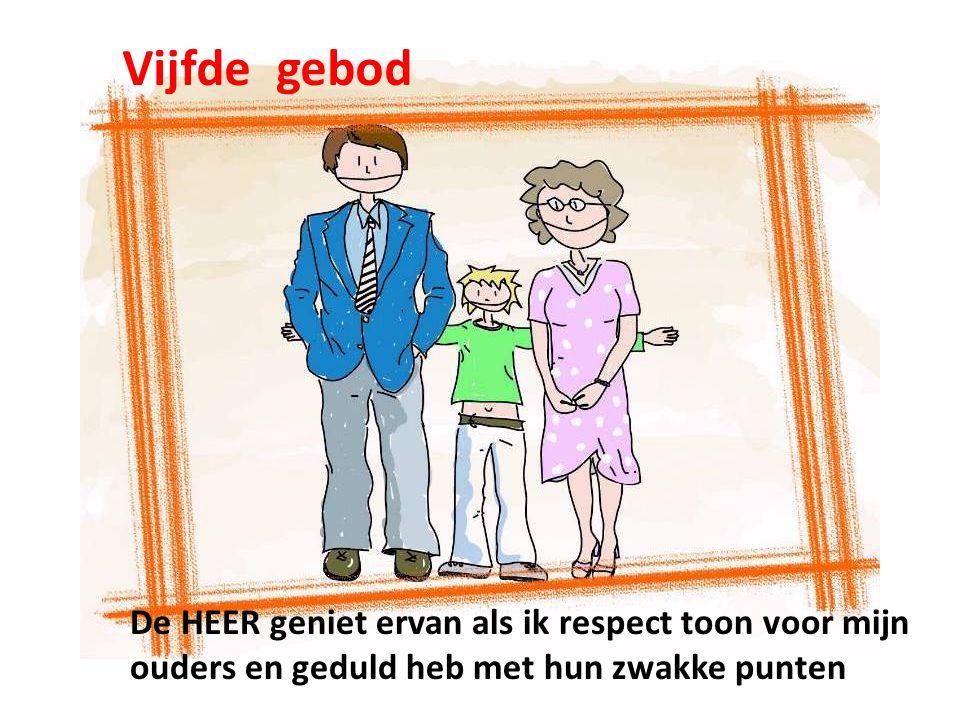 Vijfde gebod De HEER geniet ervan als ik respect toon voor mijn ouders en geduld heb met hun zwakke punten
