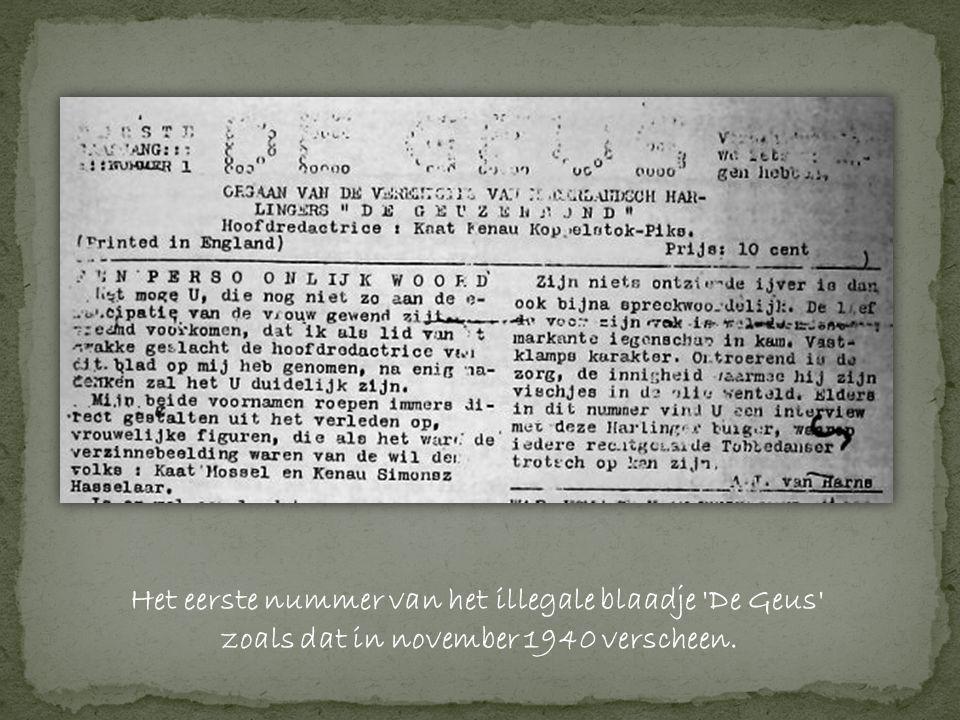 Het eerste nummer van het illegale blaadje De Geus zoals dat in november 1940 verscheen.