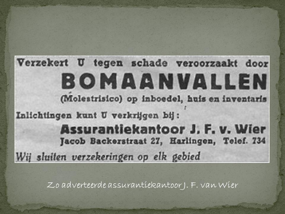 Zo adverteerde assurantiekantoor J. F. van Wier