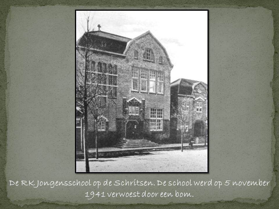 De RK Jongensschool op de Schritsen. De school werd op 5 november 1941 verwoest door een bom.