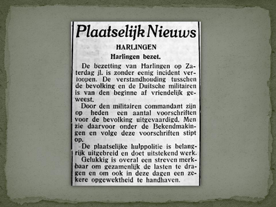 De voorpagina van de Nieuwe Harlinger Courant van vrijdag 10 mei 1940
