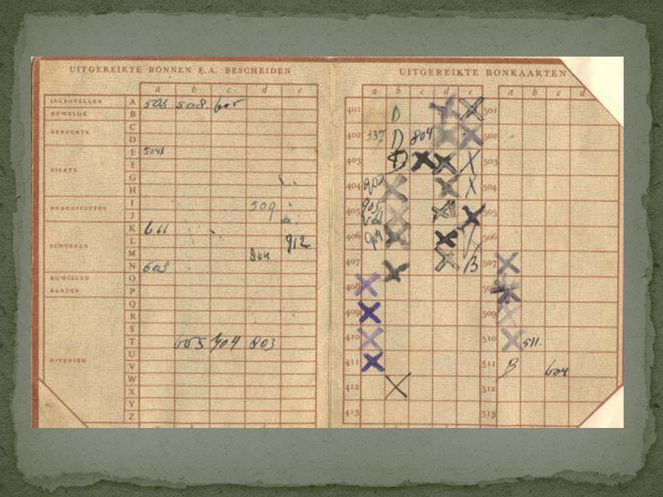 Eenvoudige kaart, waarop stond aangegeven welke distributiebonnen verstrekt waren. Zonder deze kaart kreeg men geen nieuwe bonnen.