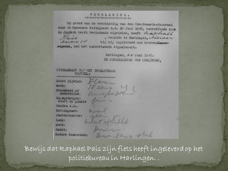 Bewijs dat Raphael Pais zijn fiets heeft ingeleverd op het politiebureau in Harlingen..