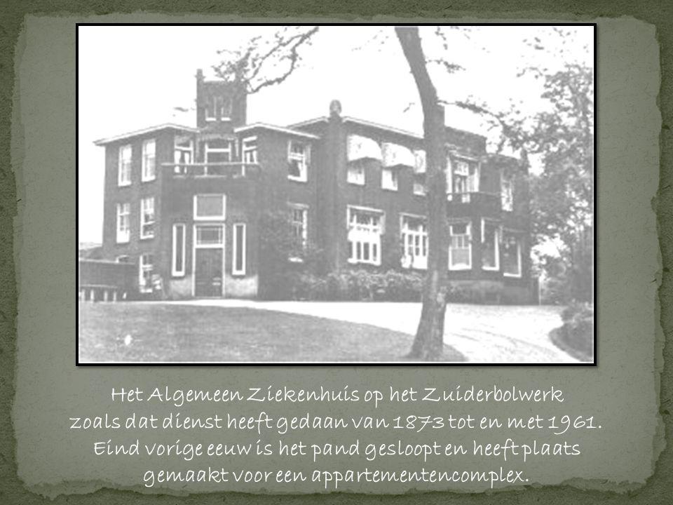 Het Algemeen Ziekenhuis op het Zuiderbolwerk zoals dat dienst heeft gedaan van 1873 tot en met 1961.