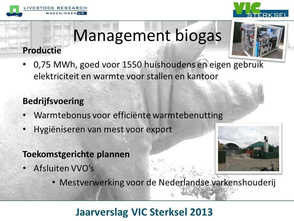 Management biogas Productie • 0,75 MWh, goed voor 1550 huishoudens en eigen gebruik elektriciteit en warmte voor stallen en kantoor Bedrijfsvoering •