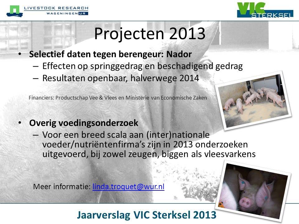 Projecten 2013 • Selectief daten tegen berengeur: Nador – Effecten op springgedrag en beschadigend gedrag – Resultaten openbaar, halverwege 2014 • Ove