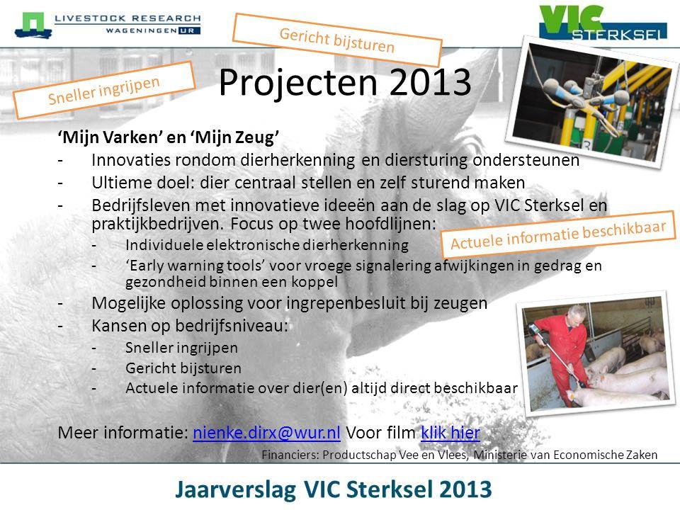 Projecten 2013 'Mijn Varken' en 'Mijn Zeug' -Innovaties rondom dierherkenning en diersturing ondersteunen -Ultieme doel: dier centraal stellen en zelf
