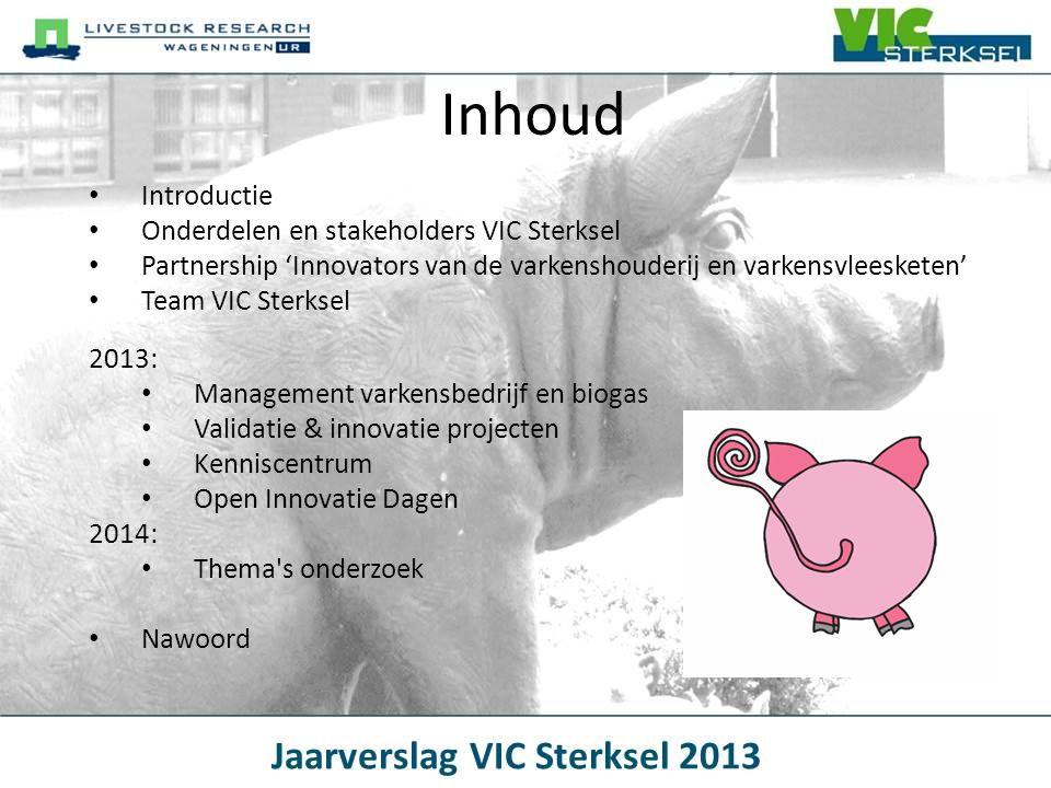 De 4 onderdelen van VIC BiogasinstallatieVarkensbedrijfKennis en communicatie Innovatief en validerend onderzoek VIC Sterksel