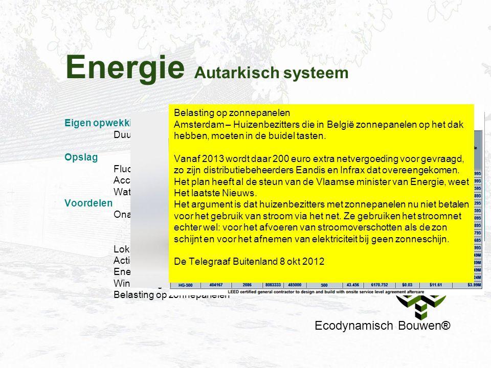 Energie Autarkisch systeem Ecodynamisch Bouwen® Eigen opwekking Duurzaam bouwen moet gedragen worden door exploitatievoordeel. Opslag Fluctuatie zonne