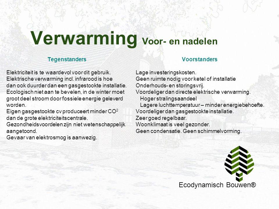 Verwarming Voor- en nadelen Ecodynamisch Bouwen® Tegenstanders Elektriciteit is te waardevol voor dit gebruik. Elektrische verwarming incl. infrarood