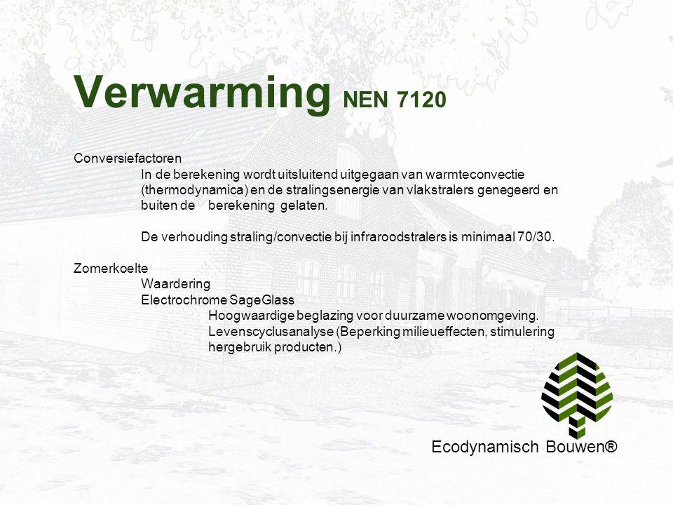 Verwarming NEN 7120 Ecodynamisch Bouwen® Conversiefactoren In de berekening wordt uitsluitend uitgegaan van warmteconvectie (thermodynamica) en de str