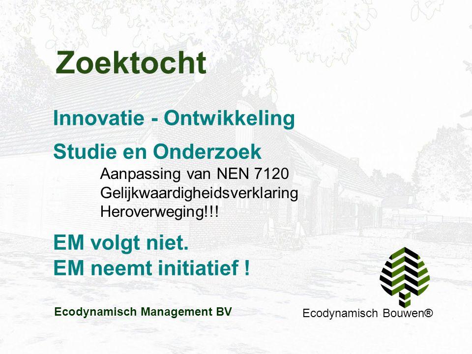 Zoektocht Ecodynamisch Bouwen® Innovatie - Ontwikkeling EM volgt niet. EM neemt initiatief ! Studie en Onderzoek Aanpassing van NEN 7120 Gelijkwaardig