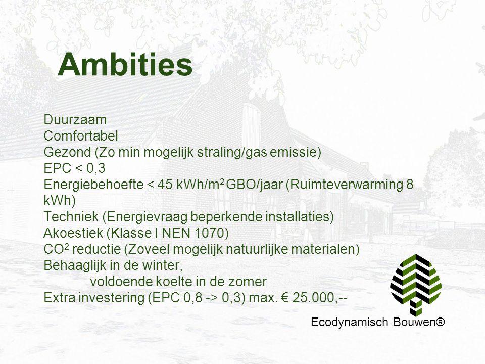 Ambities Duurzaam Comfortabel Gezond (Zo min mogelijk straling/gas emissie) EPC < 0,3 Energiebehoefte < 45 kWh/m 2 GBO/jaar (Ruimteverwarming 8 kWh) T