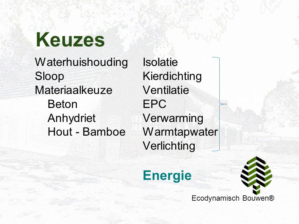 Keuzes Ecodynamisch Bouwen® Waterhuishouding Sloop Materiaalkeuze Beton Anhydriet Hout - Bamboe Isolatie Kierdichting Ventilatie EPC Verwarming Warmta