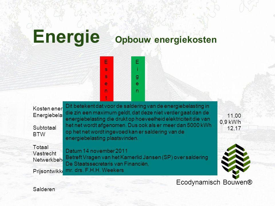 Energie Opbouw energiekosten Ecodynamisch Bouwen® Kosten energie kWh Energiebelasting Subtotaal BTW Totaal Vastrecht Netwerkbeheerder 6,90 11,40 _____